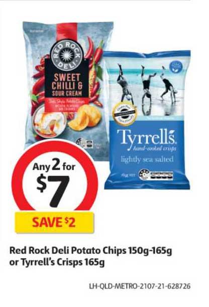 Coles Red Rock Deli Potato Chips 150g-165g Or Tyrrell's Crisps 165g