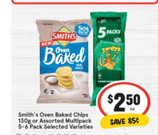 IGA Smith's Oven Baked Chips 130g Or Assorted Multipack 5-6 Pack Selected Varieties