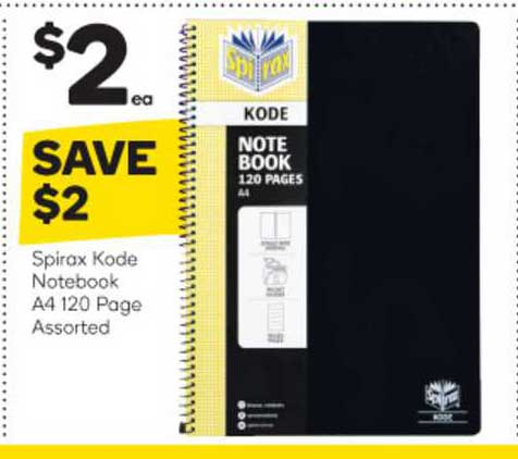 Woolworths Spirax Kode Notebook A4 120 Page Assorted
