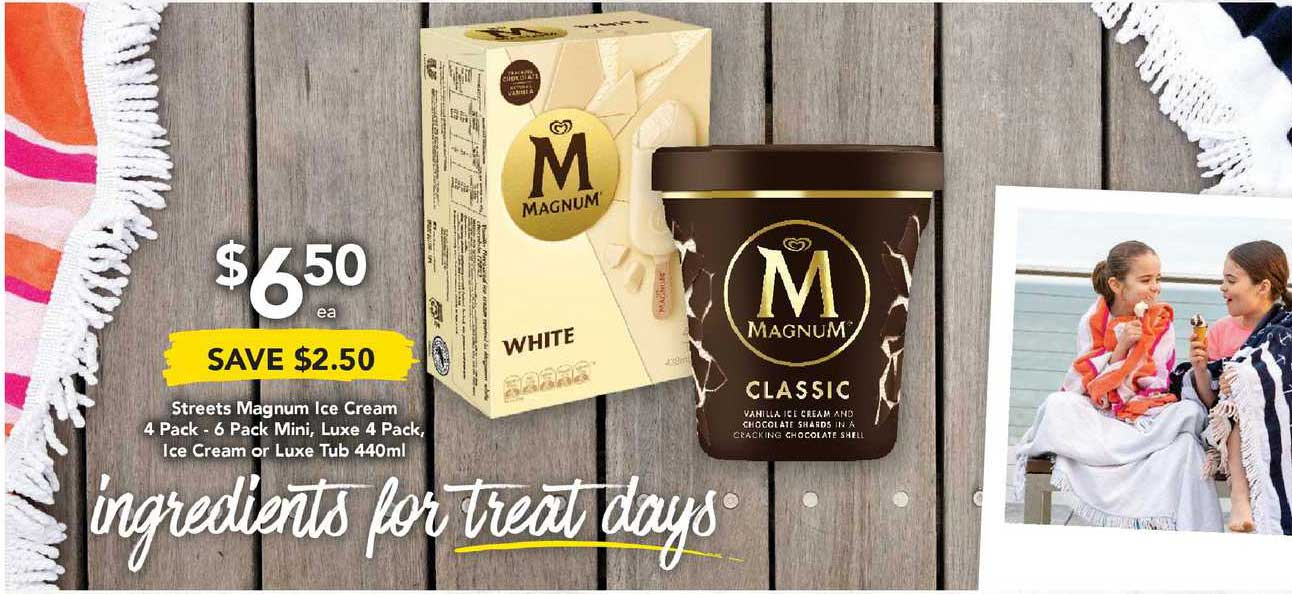 Drakes Streets Magnum Ice Cream 4 Pack - 6 Pack Mini, Luxe 4 Pack, Ice Cream Or Luxe Tub 440ml