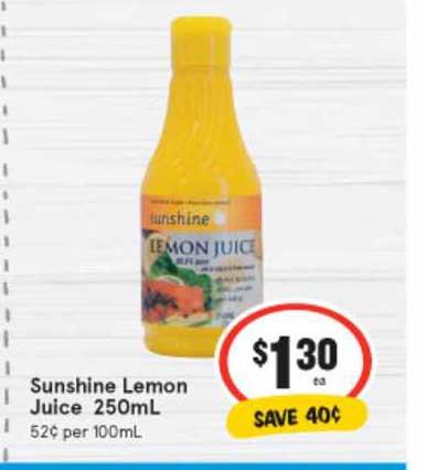 IGA Sunshine Lemon Juice 250mL