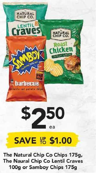 Drakes The Natural Chip Co Chips 175g, The Naural Chip Co Lentil Craves 100g Or Samboy Chips 175g