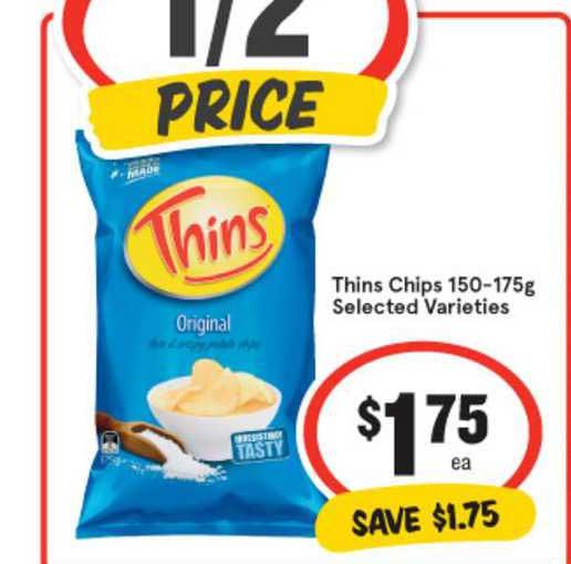 IGA Thins Chips 150-175g