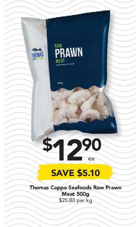 Drakes Thomas Cappo Seafoods Raw Prawn Meat 500g