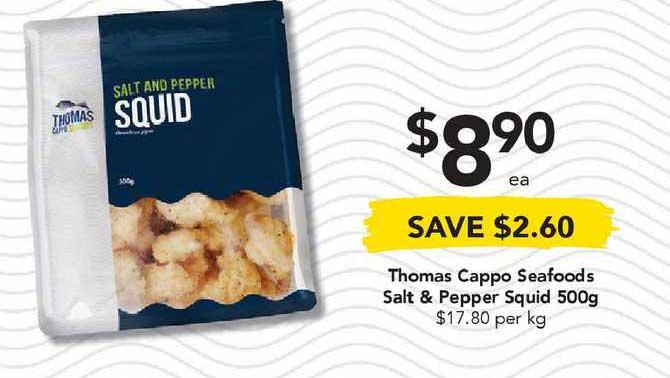 Drakes Thomas Cappo Seafoods Salt & Pepper Squid 500g