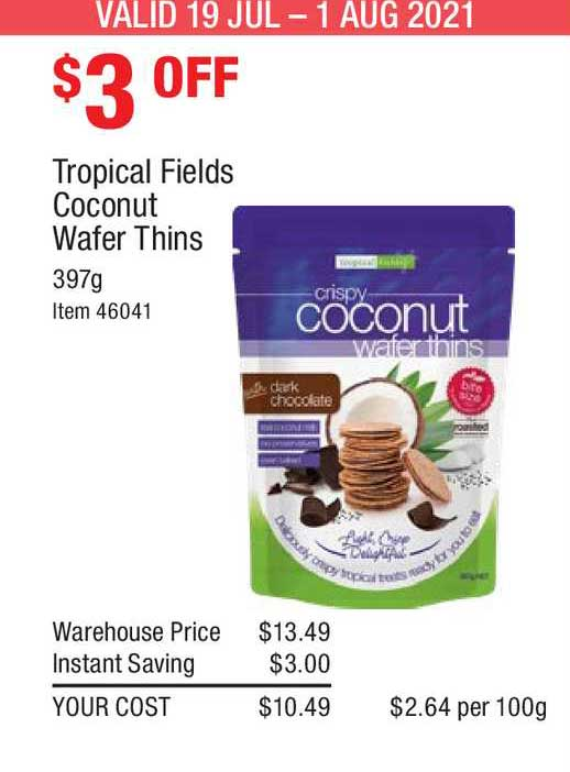 Costco Tropical Fields Coconut Wafer Thins