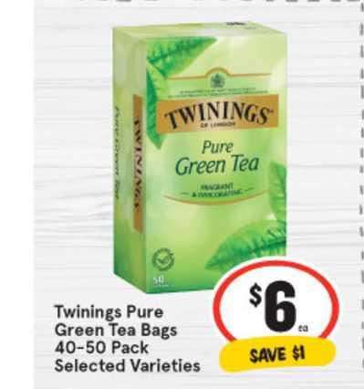 IGA Twinings Pure Green Tea Bags 40-50 Pack