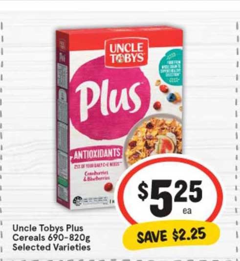 IGA Uncle Tobys Plus Cereals 690-820g