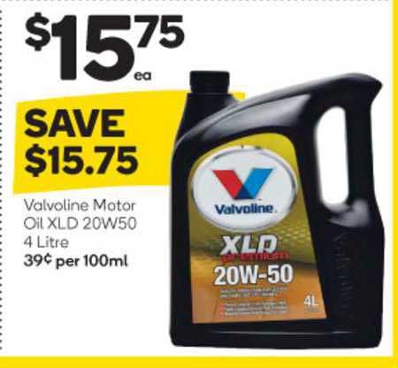 Woolworths Valvoline Motor Oil Xld 20w50