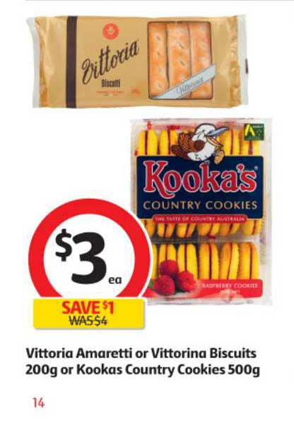 Coles Vittoria Amaretti Or Vittorina Biscuits 200g Or Kookas Country Cookies 500g