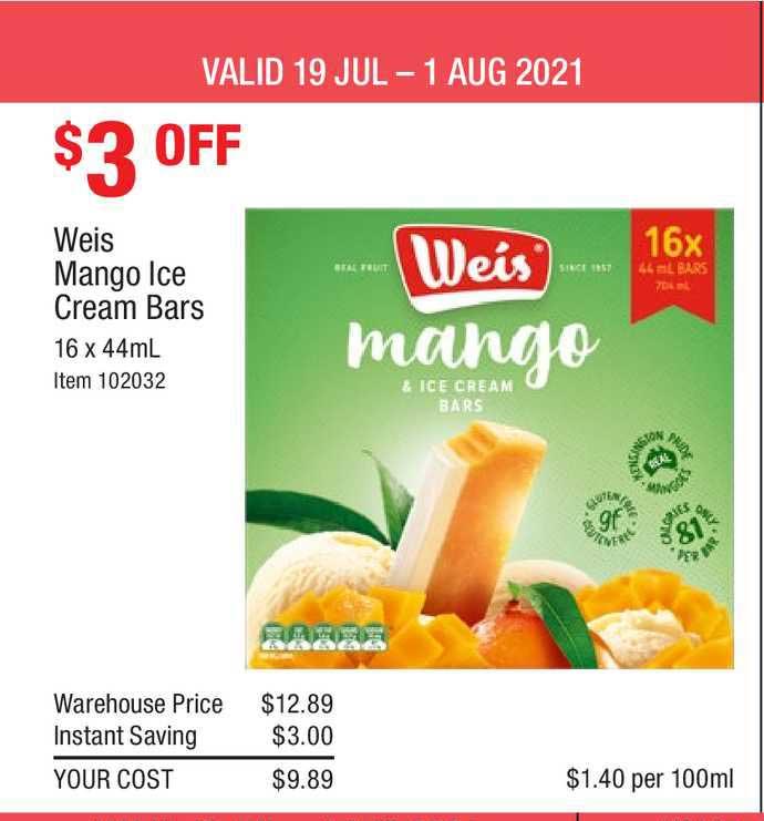Costco Weis Mango Ice Cream Bars