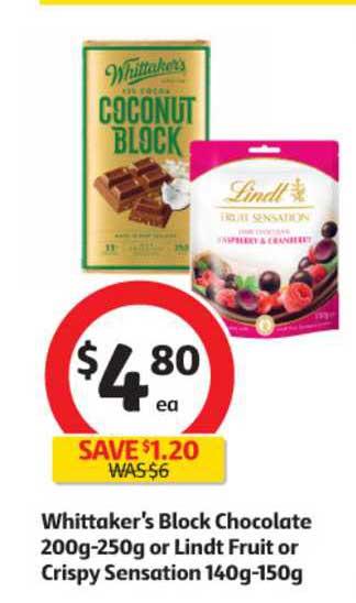Coles Whittaker's Block Chocolate Or Lindt Fruit Or Crispy Sensation