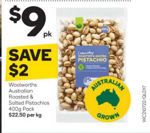 Woolworths Woolworths Australian Roasted & Salted Pistachios