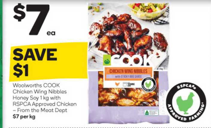 Woolworths Woolworths Cook Chicken Wing Nibbles Honey Soy With Rspca Approved Chicken From The Meat Dept