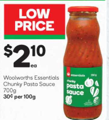 Woolworths Woolworths Essentials Chunky Pasta Sauce
