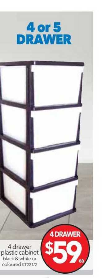 Cheap As Chips 4 Drawer Plastic Cabinet Black & White Or Coloured