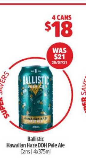 BWS Ballistic Hawaiian Haze DDH Pale Ale Cans | 4x375ml