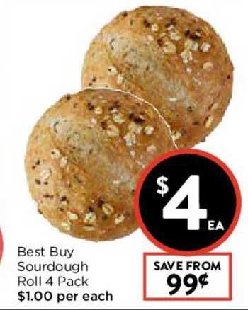 FoodWorks Best Buy Sourdough Roll 4 Pack
