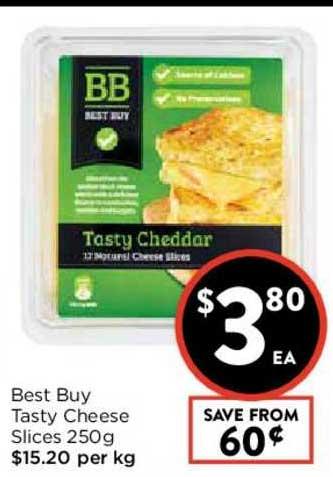 FoodWorks Best Buy Tasty Cheese Sliced 250g