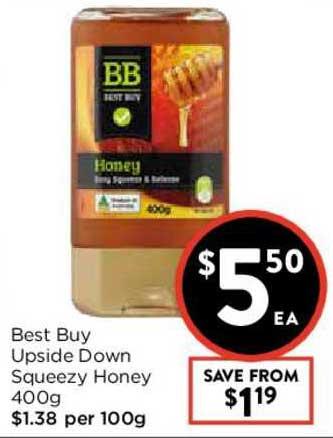 FoodWorks Best Buy Upside Down Squeezy Honey 400g