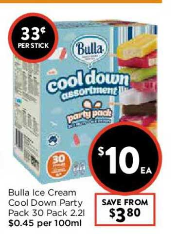 FoodWorks Bulla Ice Cream Cool Down Party Pack 30 Pack 2.2L