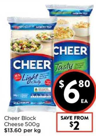 FoodWorks Cheer Block Cheese 500g
