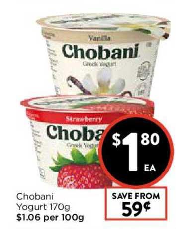 FoodWorks Chobani Yogurt 170g