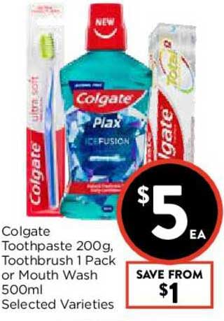 FoodWorks Colgate Toothpaste 200g, Toothbrush 1 Pack Or Mouth Wash 500ml