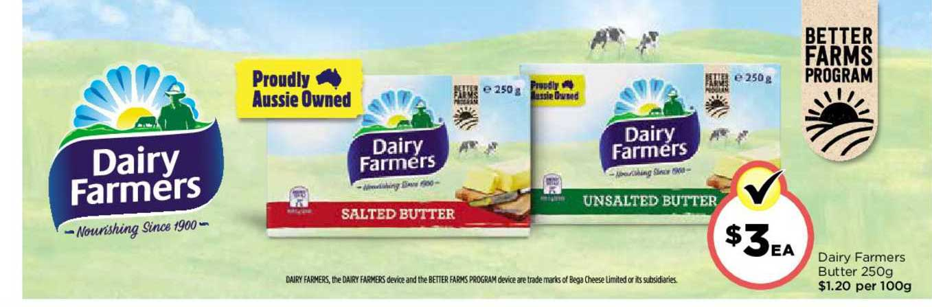 FoodWorks Dairy Farmers Butter 250g