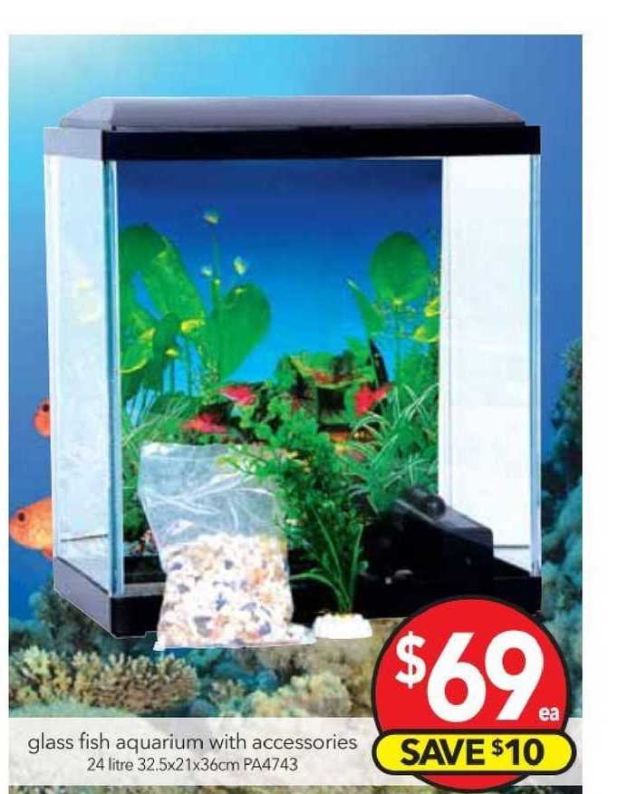 Cheap As Chips Glass Fish Aquarium With Accessories