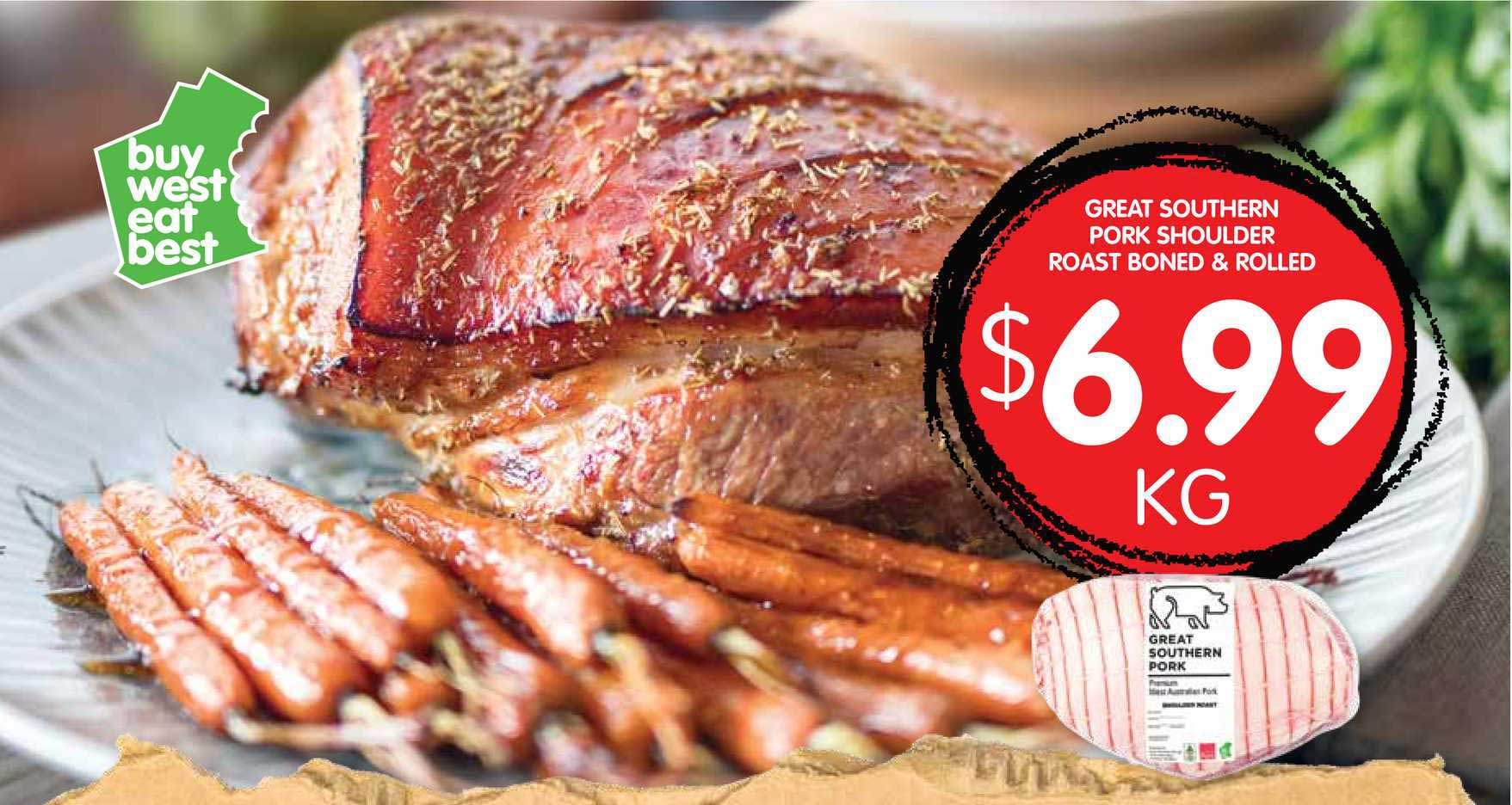Spudshed Great Southern Pork Shoulder Roast Boned & Rolled