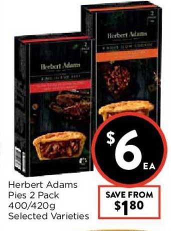 FoodWorks Herbert Adams Pies 2 Pack 400-420g