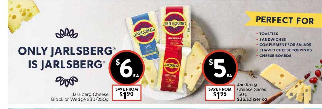 FoodWorks Jarslberg Cheese Block Or Wedge 230-250g Or Jarslberg Cheese Slices 150g