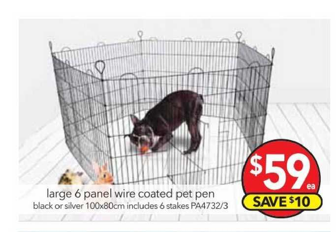 Cheap As Chips Large 6 Panel Wire Coated Pet Pen
