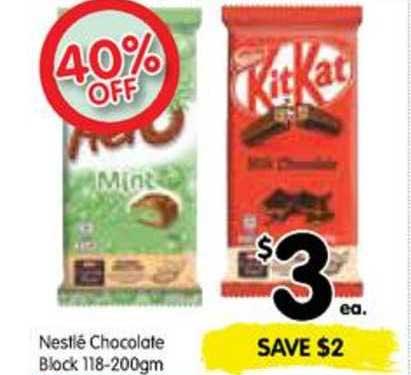 SPAR Nestlé Chocolate Block 118-200gm 40% Korting