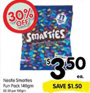 SPAR Nestle Smarties Fun Pack 140gm 30% Off