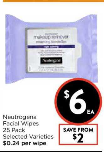 FoodWorks Neutrogena Facial Wipes 25 Pack