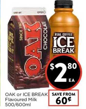 FoodWorks Oak Or Ice Break Flavoured Milk 500-600ml