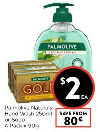 FoodWorks Palmolive Naturals Hand Wash 250ml Or Soap 4 Pack X 90g