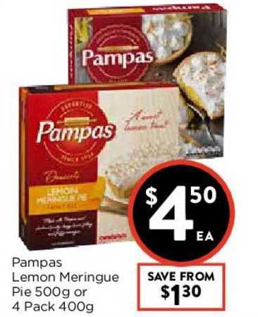 FoodWorks Pampas Lemon Meringue Pie 500g Or 4 Pack 400g