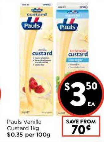 FoodWorks Pauls Vanilla Custard 1Kg