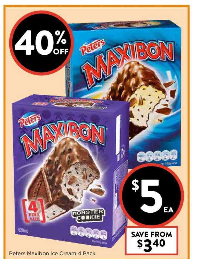 FoodWorks Peters Maxibon Ice Cream 4 Pack