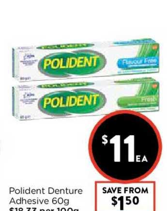 FoodWorks Polident Denture Adhesive 60g
