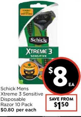 FoodWorks Schick Mens Xtreme 3 Sensitive Disposable Razor 10 Pack