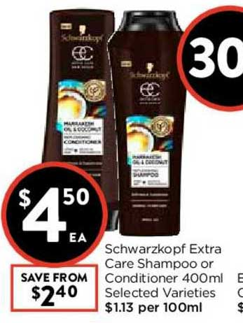 FoodWorks Schwarzkopf Extra Care Shampoo Or Conditioner 400ml