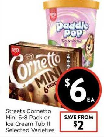 FoodWorks Streets Cornetto Mini 6-8 Pack Or Ice Cream Tub 1L