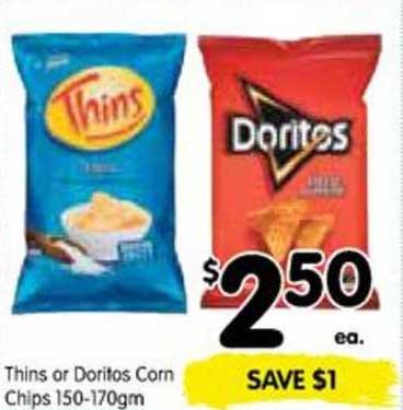SPAR Thins Or Doritos Corn Chips 150-170gm