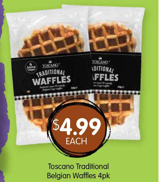 Spudshed Toscano Traditional Belgian Waffles 4Pk