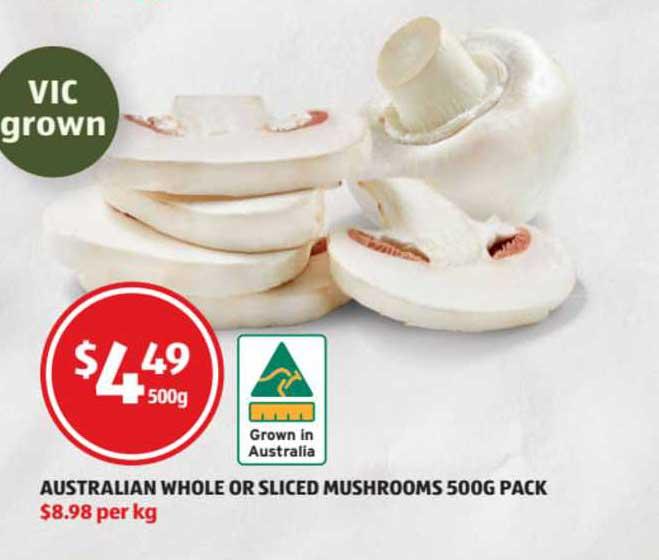 ALDI Australian Whole Or Sliced Mushrooms 500g