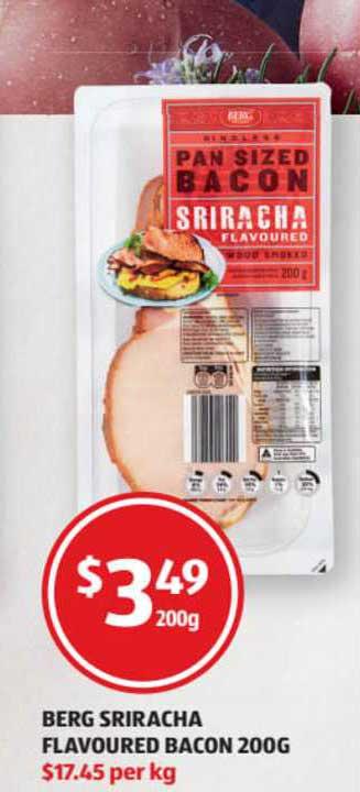 ALDI Berg Sriracha Flavoured Bacon 200g